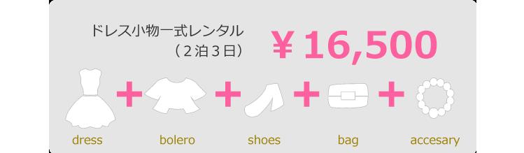 ドレス小物一式レンタル(2泊3日) ¥16,500 dress bolero shoes bag accesary